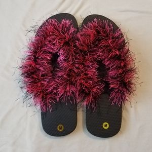 Shoes - Flips flops with crocheted tops